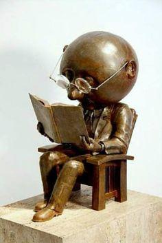 Jacobsen, Rodger (b,1939)- Man Reading, Inside, in Chair (Sculpture)