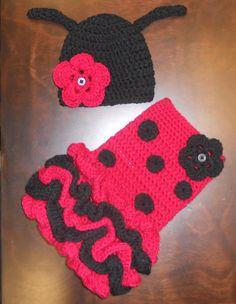 Crochet Ladybug Tutu Dress & Matching Beanie Hat by CubbyCreations, $55.00
