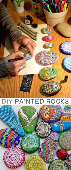 Painted Rocks -- 29 creative crafts for kids that adults will actually enjoy doing, too!   Fun Crafts For Girls, Super Easy Crafts For Kids, Diy Crafts For Tweens, Arts And Crafts For Adults, Easy Adult Craft, Garden Crafts For Kids, Art Projects For Adults, Animal Crafts For Kids, Fun Arts And Crafts