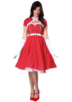 Quality 1950s Costumes for Sale  Poodle Skirts, Car Hop Waitress  Plus Size 1950s Sweetheart Dress Costume $44.99