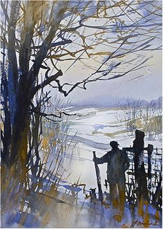 a hike in ohio by Thomas W. Schaller Watercolor ~ 22 inches x 14 inches