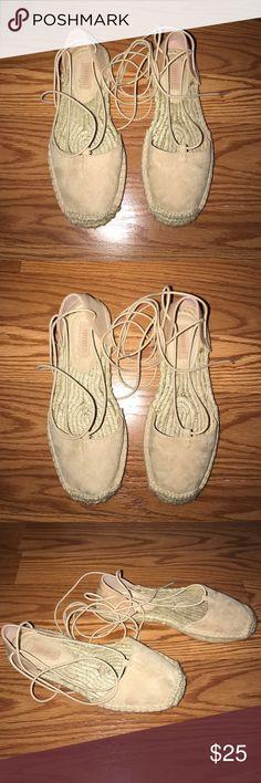Forever 21 Beige Espadrille Sandals 6 New. Beige flat espadrille sandals. Tie up. Faux suede. Size 6. Forever 21 Shoes Espadrilles