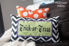 Cute DIY Halloween Pillows! Love the polka dots! #crafts