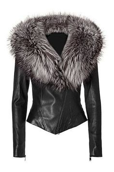 Ladies Washed Soft Lamb Nappa Leather with Fox Fur Collar Jacket