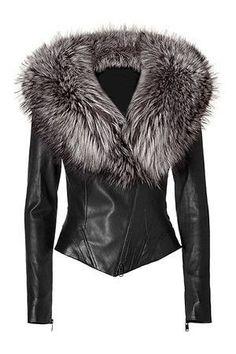 Ladies Washed Soft Lamb Nappa Leather with Fox Fur Collar Jacket. Mantel, Winter Coat, Fur Collar Jacket, Leather Jacket With Fur, Leather Jackets, Leather Blazer, Black Leather, Real Leather, Blazer Jacket