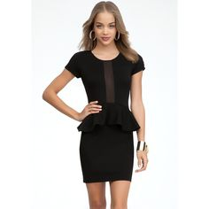 Bebe Fina Ponte Peplum Mini Dress
