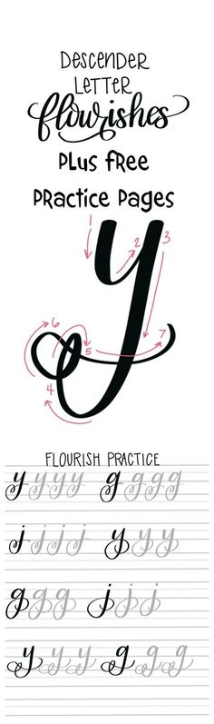 Flourishes in hand lettering: Free practice pages - typography and handlettering Source by Doodle Lettering, Creative Lettering, Brush Lettering, Lettering Styles, Lettering Ideas, Hand Lettering Fonts, Calligraphy Letters, Typography Letters, Calligraphy Practice