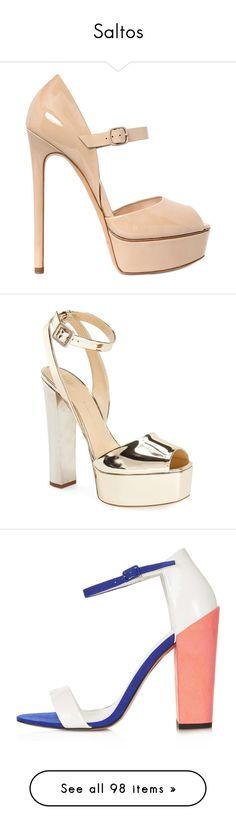 """""""Saltos"""" by gabriel-sampaiooo on Polyvore featuring shoes, pumps, heels, sapatos, scarpe, beige, beige patent leather pumps, beige platform pumps, patent leather mary jane pumps e beige peep toe pumps"""
