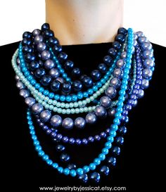 CLASSIC, Statement Necklace, Blue, Turquoise, Aqua, Navy, Sparkle, Chunky, Pearls, Vintage, Bridal, Bridesmaid, Jewelry by Jessica Theresa