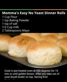 Easy No Yeast Dinner Rolls 2019 Easy No Yeast Dinner Rolls The post Easy No Y. - Recipes to try - Homemade Bread Yeast Dinner Rolls Recipe, Quick Dinner Rolls, Homemade Dinner Rolls, Easy Roll Recipe Without Yeast, Easy Homemade Rolls, Homemade Bread Without Yeast, Homemade Breads, Easy Bread Recipes, Baking Recipes