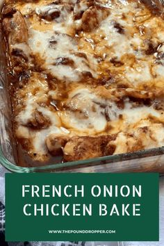 French Onion Chicken Bake - Pound Dropper Food Recipes For Dinner, Food Recipes Deserts Ww Recipes, Low Carb Recipes, Crockpot Recipes, Cooking Recipes, Recipies, Chicken Bake Recipes Easy, French Food Recipes, Chicken Recipes For Dinner, French Chicken Recipes