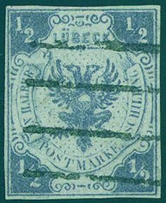 Old German States Lubeck, Michel 1 - 1 / 2 Shilling lilac, with exceptional nice and clear mounted five line stamp of the city post office, wonderful fresh colors and good margins in perfect condition. An outstanding quality this Old Germany rarity! Photo certificates Flemming BPP, Mehlmann BPP.