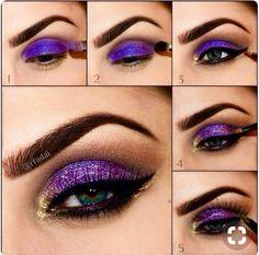Amazing Collection of Purple Eye Makeup Tutorial Lila und Gold Augen Make-up Tutorial Purple Eye Makeup, Purple Eyeshadow, Skin Makeup, Makeup Eyeshadow, Eyeshadow Ideas, Eyeshadow Tutorials, Glitter Eyeshadow Tutorial, Dramatic Eyeshadow, Eyeshadow Base