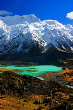 Spring in New Zealand's South Island. Watch Tower, a peak not far from Mount Cook, which is with its 3754m the highest peak in New Zealand.