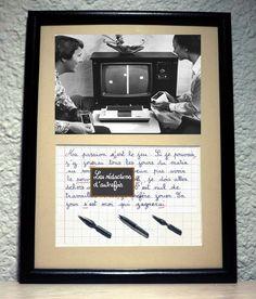 Le jeu, tableau rétro humoristique écrit à la plume avec photo ancienne : Décorations murales par redactions-d-autrefois