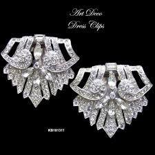 art deco diamond dress clips - Google Search