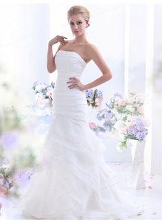 メーメイドドレス ビスチェ チャーペルトレーン オーガンジー アイボリー ウェディングドレス B12177