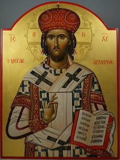 Christ the Great High Priest - This is a premium quality icon made with pure 23K gold leaf and hand-carved wood board. Painted using traditional technique - egg tempera, lime wood panel with oak support braces (slats) on the back, varnish, 23 karat gold leaf. About our icons BlessedMart offers hand-painted religious icons that follow the Russian,