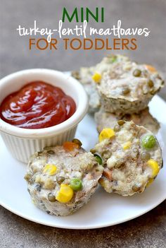 Mini Turkey-Lentil Meatloaves (For Toddlers!) - Iowa Girl Eats - Mini Turkey-Lentil Meatloaves for Toddlers are packed with protein, vitamins, and iron. Dairy Free Recipes, Baby Food Recipes, Snack Recipes, Cooking Recipes, Gluten Free, Toddler Recipes, Kid Recipes, What's Cooking, Chicken Recipes