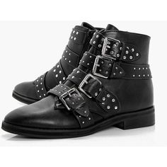 Boohoo Sara Studded Strap Ankle Boot (200 DKK) ❤ liked on Polyvore featuring shoes, boots and ankle booties