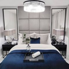 Is it the weekend yet? We can't think of a place we'd rather be than this serene bedroom perfectly put together by We're still waiting on that invitation though. Search for Dark Blue Bedrooms, Blue Master Bedroom, Serene Bedroom, Master Bedroom Design, White Rooms, Room Ideas Bedroom, Bedroom Colors, Home Bedroom, Modern Bedroom