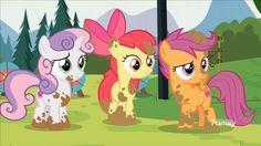 #1548960 - apple bloom, cutie mark crusaders, marks and recreation, mud, safe, scootaloo, screencap, spoiler:s07e21, sweetie belle - Derpibooru - My Little Pony: Friendship is Magic Imageboard