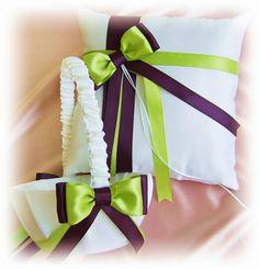 Wedding ring pillow flower girl basket, lime green and purple weddings ceremony decor