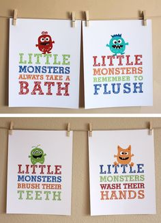 Bathroom Art Little Monsters Choose Two 5x7 by HopSkipJumpPaper, $26.00