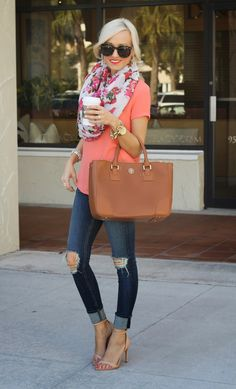 Coral top • floral scarf • ripped capris • summer • spring • outfit