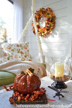 Porch Decorated for Autumn and Inspiration for Thanksgiving Celebrations by Between Naps on the Porch.