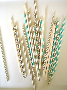 25 Fancy Nancy Paper Straws AQUA GOLD & CREAM by TheSimplyChicShop, $4.00