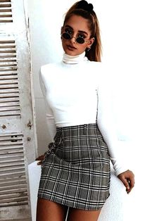 checkered skirt with white turtleneck 🍪 Girly fall outfit; checkered skirt with white turtleneck 🍪 Casual Fall Outfits, Simple Outfits, Spring Outfits, Trendy Outfits, Outfit Summer, Skirt Outfits For Winter, Formal Winter Outfits, Cute Party Outfits, Casual Winter
