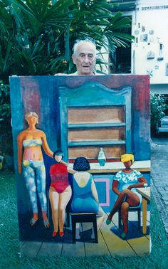 Carybé posa com uma de suas obras em foto do repórter Carlos Santana / Agência A Tarde, 14/05/1997 Dream Pictures, Poses, Photo Art, Literature, Art Pieces, Adventure, Painting, Life, Color