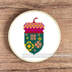 Tittle: Acorn Autumn (only acorn pattern from image 1) This PDF counted cross stitch pattern available for instant download. Skill level: