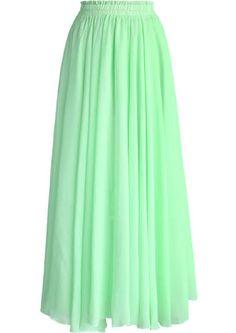 Light Green Long Maxi Skirt Green