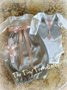 Elegant Take Home Outfit for Twin Girls by TheTinyTrendsetter Boy Girl Twins, Twin Girls, Twin Babies, Twin Outfits, Little Girl Outfits, Kids Outfits, Toddler Vest, Toddler Girl, Baby Kids
