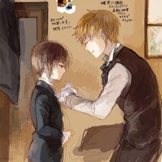 Arthur and young Ka Lung (head-canon name for Hong Kong) - Artist unknown