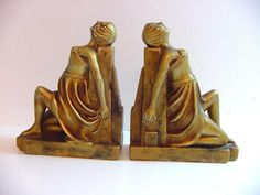two art deco book ends