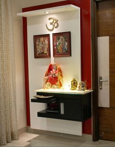 Create these smart, trendy pooja room designs in living room. These stunning pooja room designs in living room will add beauty and serenity to your house. Temple Design For Home, Home Temple, Wooden Temple For Home, Pooja Room Door Design, Room Interior Design, Altar Design, Mandir Design, Pooja Mandir, Room Partition Designs