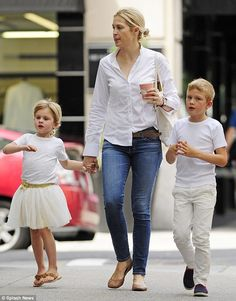 Doting mom: Kelly Rutherford with her children, son Hermes and daughter Helena in New York...