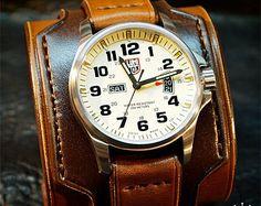 Leather cuff watch Casio diver watch 2 wide Black