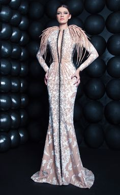 Nicolas Jebran Spring Summer 2017 Couture Long Sleeve Gown With Shoulders Accented Tendrils