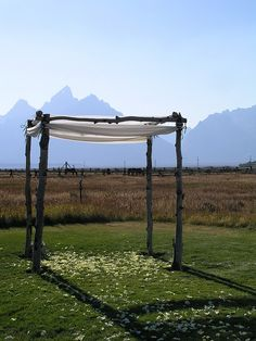 I would really like a chuppah; I think traditionally, daddy & L would make this together.  Now where to find big sticks...