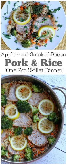 Applewood Smoked Bacon Pork and Rice One Pot Skillet Dinner : ready in 30 minutes!