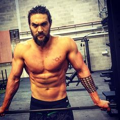 "Pin for Later: Behold the Glory of Jason Momoa's (Insane) Workout Progress Pics ""Putting in work. Every day is crazy hard."""