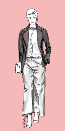 Der dunkelgraue Blazer verschmälert die Silhouette des ansonsten komplett weißen Outfits. Weitere Schlank-Tipps finden Sie auf www.modefluesterin.de - freue mich über neue Leserinnen!