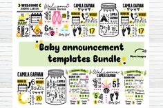 Baby Announcement Chart Templates Bundle (Graphic) by redearth and gumtrees · Creative Fabrica Newborn Announcement, Baby Announcements, Baby Chart, Stencil Templates, Cat Template, Design Templates, Scan And Cut, Book Folding, Sign Design