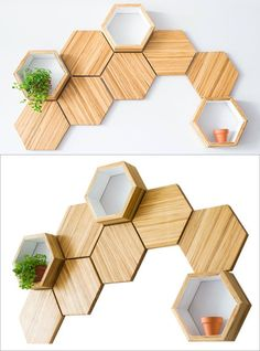 ChopValue have created Recycled Chopstick Honeycomb Shelves. These handmade, mod… ChopValue have created Recycled Chopstick Honeycomb Shelves. These handmade, modern, hexagonal wood wall shelves and tiles offer a unique accent to any wall. Honeycomb Shelves, Hexagon Shelves, Wood Wall Shelf, Wood Wall Decor, Wall Décor, Wall Art, Diy Wall, Wood Home Decor, Regal Design
