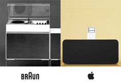 Jonathan (Jony) Ive, Senior Vice President of Industrial Design at Apple, is a good friend of our new pal Dieter Rams, and takes inspiration from Braun's minimalist aesthetic and focus on function. The examples to the left illustrate the similarities in design thinking and, in most cases, a homage to fifty years of design innovation by Braun.