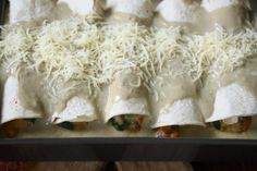 Meatless Monday: Green Chile Enchiladas with Summer Squash, Cherry Tomatoes, and Spinach